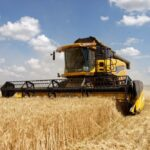 File photo of a combine harvesting a wheat crop in Ukraine. (SergBob/iStock/Getty Images)