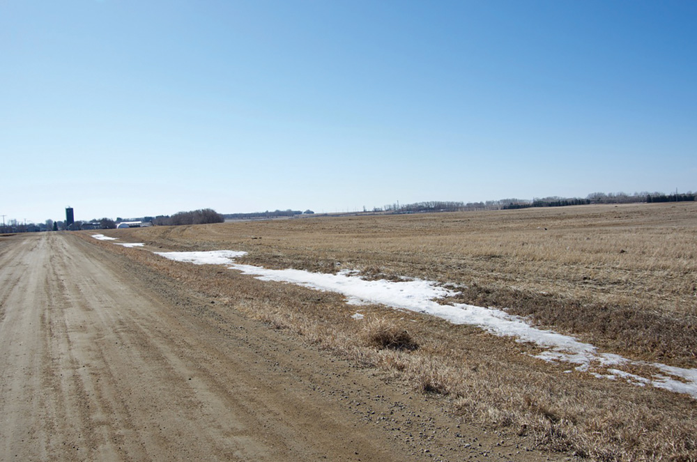 ABOVE: Little snow remains on fields near Brandon in mid-March.