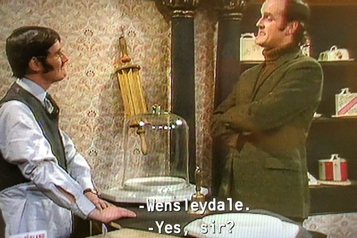 Video screengrab of Michael Palin (l) and John Cleese in the Cheese Shop sketch on Monty Python's Flying Circus in 1972.